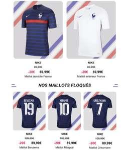 Sélection de Maillots de football Nike Équipe de France FFF 2020-2021 en promotion