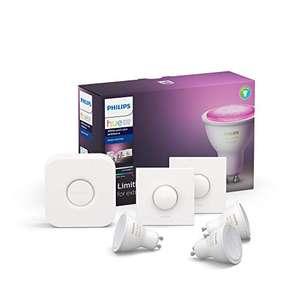 Kit de Démarrage Philips Hue Kit White & Color Ambiance GU10 Pack de 3 + Pont + 2 Smart Button