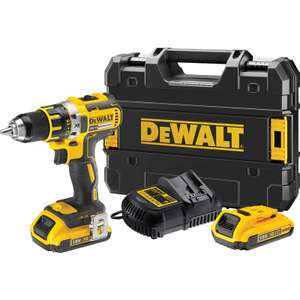Perceuse visseuse sans fil Dewalt DCD790 Brushless + Chargeur + 2 Batteries (18V, 2Ah) + Coffret d'embouts Tough Case (40 pcs)