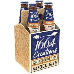 Pack de 4 bières blondes Créations French Gold Lager 1664 (ou autres variétés) - 4 x 33cl (via Shopmium)