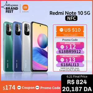 "Smartphone 6.5"" Redmi Note 10 5G - Dimensiity 700, 4 Go RAM, 64 Go (122.84€ avec le code DEALABSAE15)"