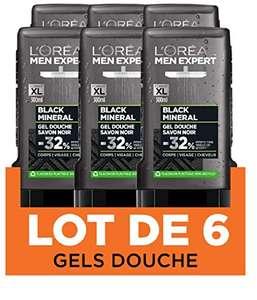 [Prime] Lot de 6 Gels Douche l'Oréal Paris Men Expert Black Mineral - 300 ml