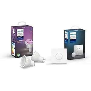 [Prime] Pack de 2 Ampoules LED connectées Philips Hue White & Color Ambiance Gu10 + Smart Button