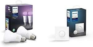 [Prime] Pack de 2 Ampoules LED Connectées Philips Hue White & Color Ambiance E27 + Smart Button