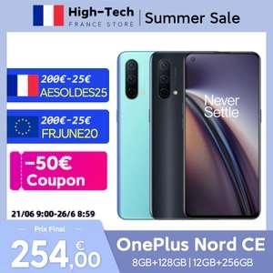 "Smartphone 6.43"" OnePlus Nord CE 5G - 128 Go, 12 Go de Ram, Snapdragon 750G Amoled, 90Hz (via coupon vendeur - 254€ via FRJUNE20)"