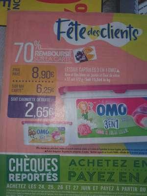 Paquet de 27 capsules de lessive liquide Omo 3-en-1 - différents parfums (via 6.25€ sur la carte de fidélité)