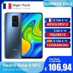 """Smartphone 6.53"""" Xiaomi Redmi Note 9 - 4 Go de RAM, 128 Go - Gris ou Noir (116,49€ via Code n618vsam10020)"""