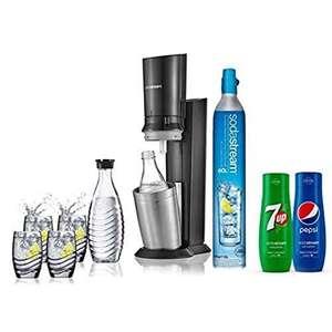 [Prime] Pack machine à gazéifier SodaStream Crytal (noir) - avec 2 bouteilles + 4 verres + cylindre de gaz CO² + 2 concentrés 7Up &Pepsi