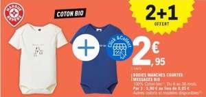 Lot de 3 bodies manches courtes en coton bio (du 6 au 36 mois)
