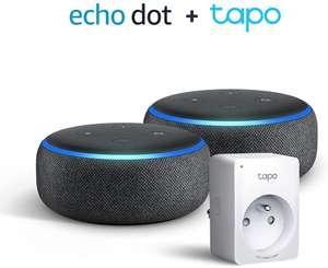 [Prime] Pack de 2 enceintes Echo Dot (3ème génération) + Prise connectée TP-Link Tapo P100 (WiFi)