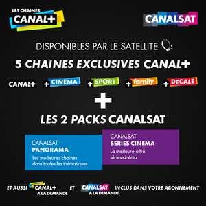 Abonnement mensuel pour une durée de 12 mois à CANAL+ et CANALSAT par le satellite