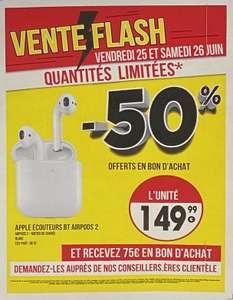 Écouteurs sans-fil Apple AirPods 2 avec boitier de charge filaire (via 75€ en Bon d'Achat) - Seynod (74) / Odysseum Montpellier (34)