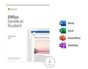 Logiciel Microsoft Office Famille & Étudiant 2019 sur PC et Mac - 1 Appareil, À Vie (Dématérialisé)