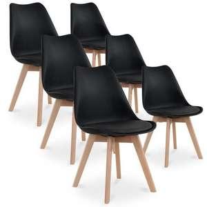 Lot de 6 chaises Catherina - Style Scandinave avec Pieds en bois et Assise rembourrée, Noir,Gris ou Blanc- (Vendeur tiers)
