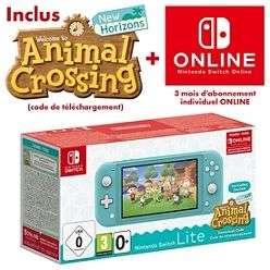 Console Nintendo Switch Lite Turquoise + Jeu Animal Crossing New Horizons + 3 mois d'abonnement au Nintendo Switch Online