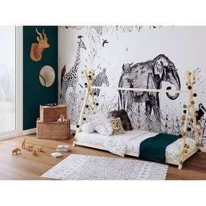 Lit cabane Tipi Weber Montessori - Pin massif, 90x190cm, Sommier inclus, Naturel