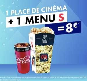 [Membres Club CGR] 1 place de cinéma + 1 menu S = 8€