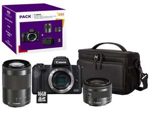 Appareil photo Hybride Canon EOS M50 + Objectif EF-M 15-45 mm f/3.5-6.3 IS STM + EF-M 55-200 mm f/4.5-6.3 IS STM + Etui + SD 16Go (Retrait)