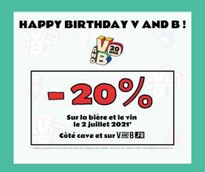 20% de réduction sur la Bière et le Vin (hors mini-fûts, perfect draft, champagnes & grands crus) - vandb.fr