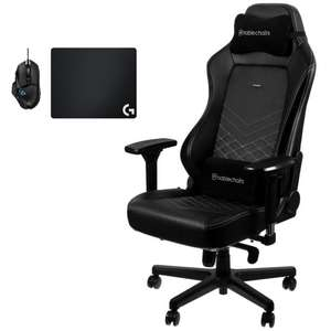 Siège gaming Noblechairs Hero + Souris filaire Logitech G502 Hero + Tapis de souris tissu Logitech G240 (340 x 280mm)
