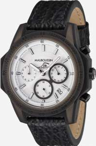 Montre Mauboussin The Swimmer - Cadran blanc, bracelet cuir, 45 mm