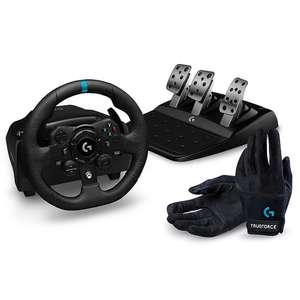 Pack volant + pédalier + gants de jeux vidéo Logitech G923 Trueforce pour Xbox et PC