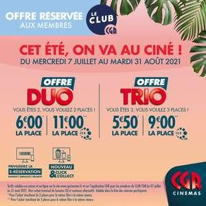 [Membres Club CGR] 2 places de cinéma à 12€ ou 3 places à 16.50€