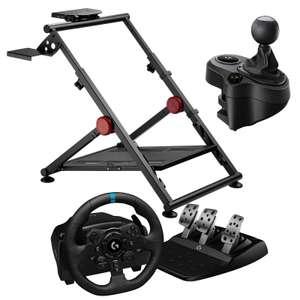 Pack pour jeux vidéo - volant Logitech G923 + pédalier + levier de vitesse Logitech Driving Force Shifter + stand Oplite Wheel Stand GT Pro