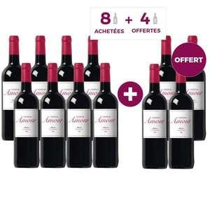 12 Bouteilles de Vin rouge de Bordeaux Médoc Château Amour 2018 - 12x75 cl