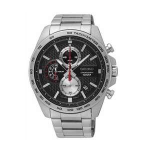 Montre quartz chronographe Seiko Sport 100M pour Homme - 44mm, Noir (Sélection de magasins)