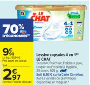 Paquet de 25 capsules de lessive liquide Le Chat Sensitive Discs 4-en-1 (via 6.93€ sur la carte fidélité)