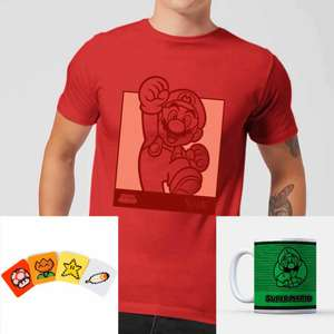 Lot Nintendo : 1 T-Shirt au choix (Hommes & Femmes, du XS au XXL) + 1 Mug + 1 set de 4 sous-verres