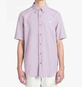 Chemise manches courtes à col boutonné en coton surteint Fred Perry Oxford - Gris lavande, Tailles XS à L