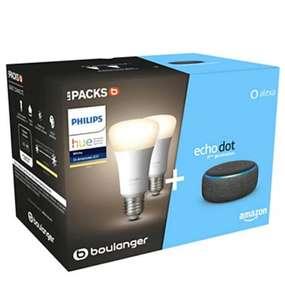 Pack assistant vocal Amazon Echo Dot (3ème génération) + 2 ampoules connectées LED E27 Philips Hue White