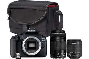 Appareil Photo Reflex Canon EOS 2000D + Objectif 18-55 mm f/3.5-5.6 + Objectif 75-300 mm f/4-5.6 + Sac SB130 + Carte mémoire SD 16 Go
