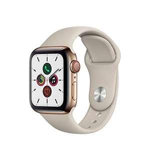 Montre Connectée Apple Watch Series 5 - GPS + Cellular, 40mm, Boîtier en Acier Inoxydable Or, Bracelet Sport Gris Sable