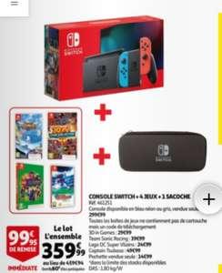 Console Nintendo Switch + 4 jeux (code de téléchargement) + pochette