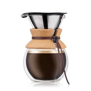 Cafetière manuelle double paroi Bodum Pour Over - 1 L, maille inox, manche liège