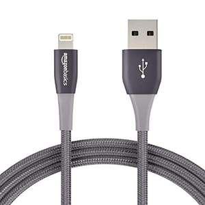 Lot de 12 Câble Nylon à double tressage USB type A et connecteur Lightning Amazon Basics - 1,8 m , Gris foncé