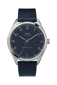 Montre automatique encuir Timex Waterbury - Bleu marine et argenté