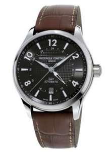 Montre Frederique Constant pour Homme - 42mm, acier, bracelet cuir, étanche 50m