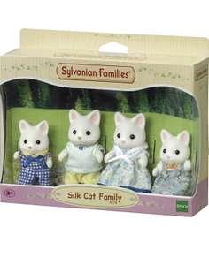 4 Figurines Sylvanian Families - Le Village - La Famille Chat Soie - 4175