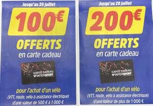 100€ en carte cadeau pour l'achat d'un vélo VTT, Route ou Électrique entre 500€ & 1000€ (ou 200€ à partir de 1000€) - Saint-Berthevin (53)