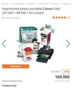 Imprimante Photo Canon Selphy CP1300 noir + Kit papier RP-108 + Kit Créatif