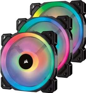 Pack de 3 ventilateurs PC Corsair LL120 Dual Light Loop RGB - 12 cm, Noir avec Contrôleur & Hub Lightning Node Pro (Frais inclus)