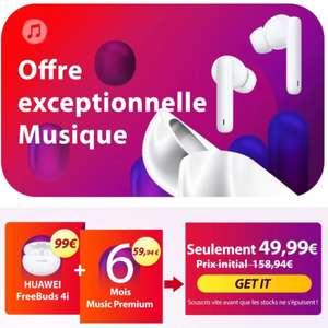 Ecouteurs sans fil Huawei Freebuds 4i (Bluetooth) + 6 mois d'abonnement Music Premium (sans engagement - via l'application Huawei Music)