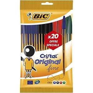 Lot de 20 stylos Bic Cristal - pointes fines, couleurs assorties