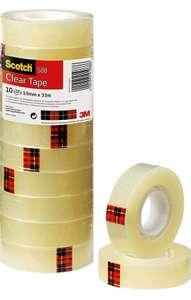 Lot de 10 rouleaux de ruban adhésif transparent Scotch 3m - 15mm x 30m