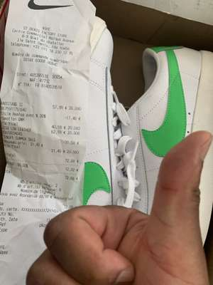 Chaussures Nike Blazer Low Leather - Blanche et verte, Tailles 40, 41 & 42 - Nike Store St Ouen (93)