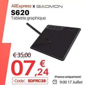 Tablette graphique Gaomon S620 - 8192 niveaux de pression et 4 touches de raccourcis (entrepôt France)